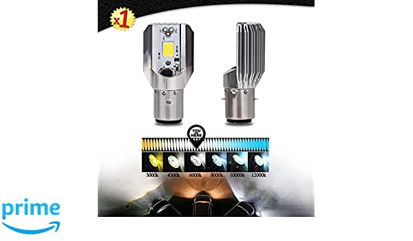 Gazechimp Super Bright Headlight Bulb LED Motorcycle 1x H4 BA20D DC 6V-80V 6W COB Beam