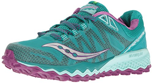 Saucony Womens Peregrine 7 Trail Running Shoe Teal/Purple/Citron