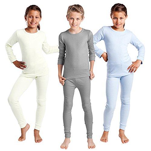 Thermo Unterwäsche Set (Hemd + Hose) für Mädchen und Jungen - warm, weich und atmungsaktiv - 3 Farben zur Auswahl (158 / 164, Hellgrau)