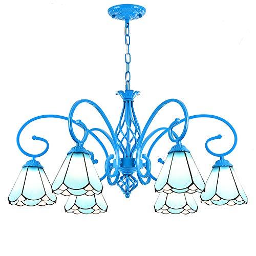 Unten Arm Kronleuchter (ZSSM Tiffany Stil Kronleuchter Glas gefertigt 6 Arme Kunst schmiedeeiserne Basis Oben oder unten Installation blau E27 * 6 Deckenpendelleuchte)