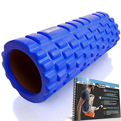 Rodillo de espuma para masaje muscular (Libro de ejercicios incluido) diseño de rejilla para accionar la terapia de puntos para el dolor de espalda y los músculos de las piernas - 33 x 14 cm - Ideal para los atletas, ciclistas, nadadores, jugadores de baloncesto y fútbol