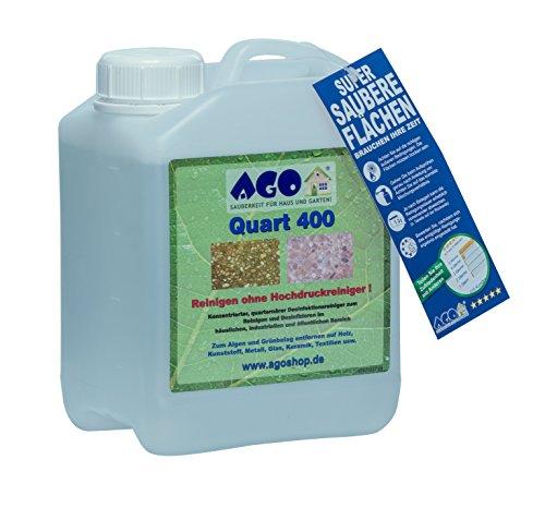 AGO ® Quart 400 Hochkonzentrat Grünbelagentferner 2 Liter Konzentrat. Gegen Algen, Flechten und sonstige Grünbeläge. Auf jedem Material, Chlor- und Säurefrei