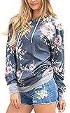 Angashion Damen Hoodies Langarm Kapuzenpullover-Blumenmuster Casual Sweatshirt Pullover Bluse Oberteile- Gr. EU S(34), Grau