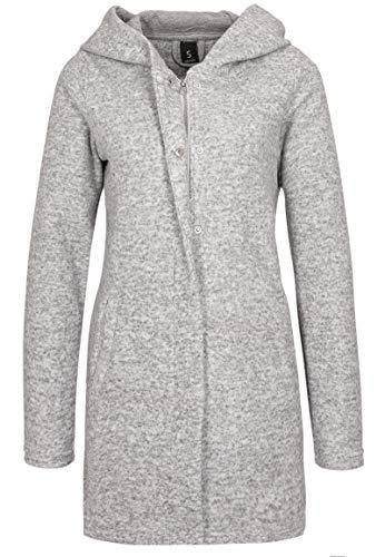 Sublevel Damen Sweat Mantel mit Reißverschluss und Kapuze Light-Grey L