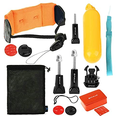 PULUZ 14 in 1 Surfing Gopro Accessories Combo Kit (Bobber Hand Grip + Floaty Sponge + Quick Release Buckle + Surf Board Mount + Floating Wrist Strap + Safety Tethers Strap + Storage Bag ) for GoPro HERO5 /4 /3+ /3 /2
