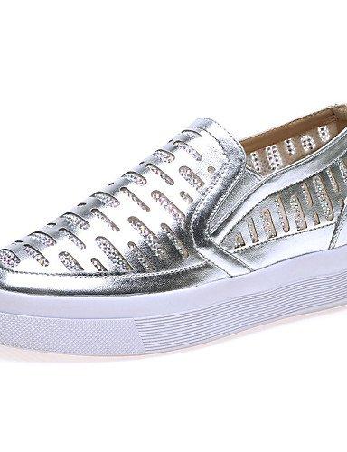 ZQ gyht Damenschuhe - Slippers - B¨¹ro / Kleid / L?ssig - Kunstleder - Flacher Absatz - Komfort - Silber / Burgund burgundy-us5.5 / eu36 / uk3.5 / cn35