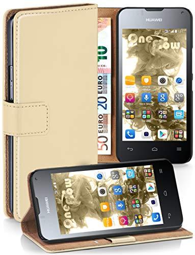 moex® Booklet mit Flip Funktion [360 Grad Voll-Schutz] für Huawei Ascend Y300 | Geldfach & Kartenfach + Stand-Funktion & Magnet-Verschluss, Beige