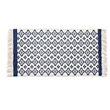 SHACOS Tappeti Naturali Antiumido - Antiscivolo Lavabile Tappeto Blu 100% Cotone Naturale Tappeto con Nappe 60x130 cm