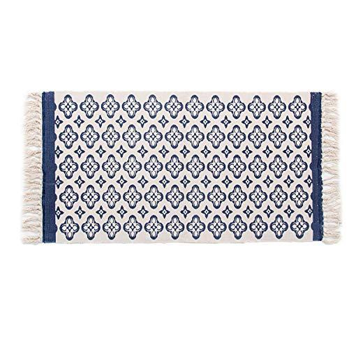 SHACOS área de algodón Tejida Alfombra de Mandala para Sala de Estar Dormitorio Cocina Alfombra Azul Lavable Antideslizante 60 x 130 cm