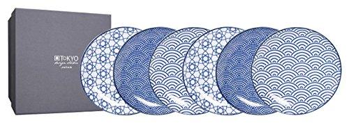 Tokyo Design Studio, 6 Assiette en porcelaine, Diamètre 16cm - Coffret de 6, Nippon Blue
