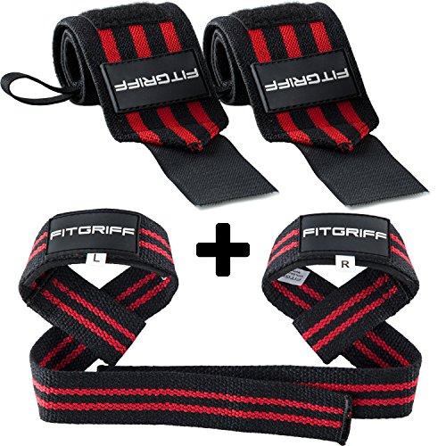 Handgelenk Bandagen + Zughilfen (2Paar/4Stück) von FITGRIFF - Premium Fitness Set für Kraftsport, Bodybuilding und Krafttraining - für Frauen und Männer - 2 Jahre Gewährleistung