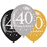 40e anniversaire Ballons Noir Argent Doré Lot de 6