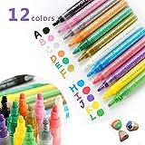 Umiwe Acrylstifte Marker Stifte, 12 Farben permanent Marker Set wasserfest Art Filzstift Folienstift