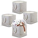 mDesign 4er-Set Aufbewahrungsbox mit Griffen – Spielzeugkiste für Ordnung im Kinderzimmer – Stoffkiste für Puppen, Autos, Blöcke und Knetmasse – grau/creme