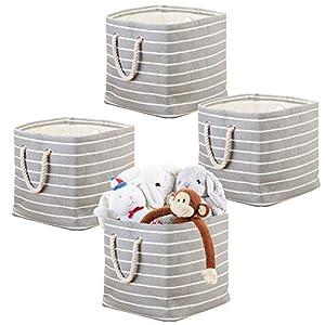 mDesign 4er-Set Aufbewahrungsbox mit Griffen – Spielzeugkiste für Ordnung im Kinderzimmer – Stoffkiste für Puppen, Autos…