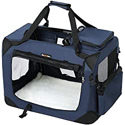 FEANDREA Bolsa de Transporte para Mascotas Transportín Plegable para Perro Portador Tela Oxford Azul Oscuro M 60 x 40 x 40 cm PDC60Z