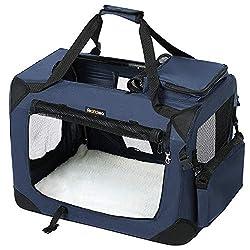 FEANDREA Hundebox, Transportbox für Auto, Hundetransportbox, Faltbare Katzenbox aus Oxford-Gewebe, dunkelblau, M 60 x 40 x 40 cm PDC60Z
