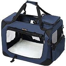 FEANDREA Bolsa de Transporte para Mascotas Transportín Plegable para Perro Portador Tela Oxford Azul Oscuro M