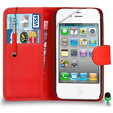 POUR Apple iPhone 4 / 4S - SHUKAN® Prime Cuir ROUGE Portefeuille Cas Coque Couverture avec Rétractable Toucher Style Stylo VERT Cap Protecteur d'écran & Tissu de