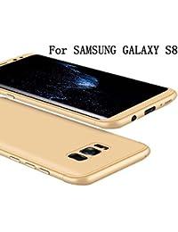 Samsung Galaxy S8 Coque 360 Protection PC 3 en 1 Full Cover Adamark Housse Integrale Bumper Etui Case Accessoires Ultra Fin Et Discret Pour Samsung Galaxy S8 (Sans protecteur de film en verre trempé) (Or)