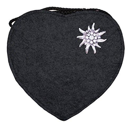 Herz Trachtentasche mit Edelweiß Schwarz