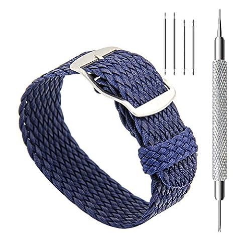 CIVO Bracelets de Montres - 20 mm Simple Design Bracelet de Montre de Nato Bracelets en Nylon Tissés Tressés Perlés Premium en Nylon avec Boucle en Acier Inoxydable (Navy Blue, 20)