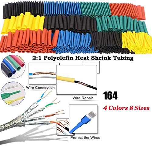 ToomLight 164Pcs Poliolefina que se encoge Surtido por calor Tubo de encogimiento Cable de alambre Manguera aislada