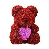 YHONG-Gift Rose Bear, Artificial Rose Rose Bear Lovely PE Amore a Forma di Cuore,Biglietto di Auguri per Il Compleanno di Fidanzata con Decorazioni per la Sposa