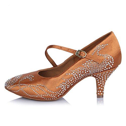 HIPPOSEUS Donna Ballroom Scarpe da Ballo/Sala da Ballo Scarpe/Scarpe da Ballo Latino Standard di Raso&Strass,Modello-ITAFCT306 Marrone