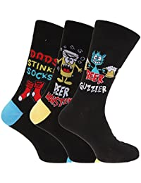 Herren Socken mit Comic-Aufschrift (3 Paar) (39-45 EU) (Design 2)