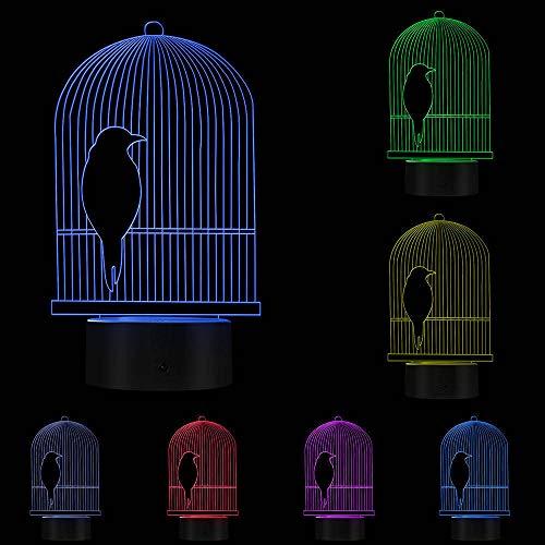 PTSHOP Vogelkäfig 3D Optische Täuschung Schreibtischlampe LED Nachtlicht Vogel Dekorative Hängestange Vogelkäfig für Kinderzimmer (Dekorative Vogelkäfige)