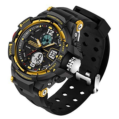 SANDABand Herren Digitaluhren Sport Top Marken Militär Sportuhr Herren S Shock wasserdichte männliche Uhr,Yellow,L