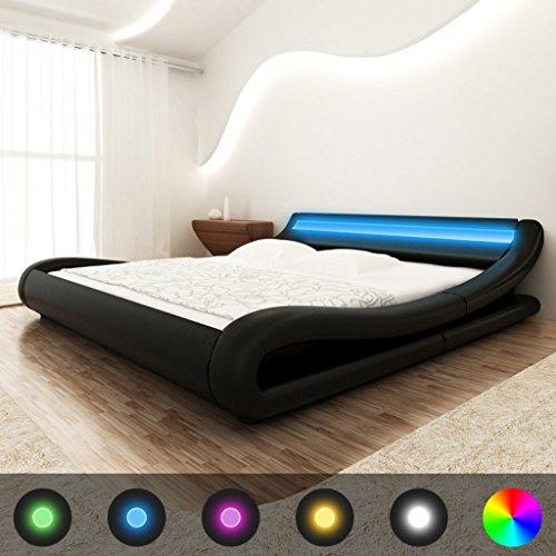 Festnight Kunstleder Bett Holzbett Bettrahmen Ehebett Doppelbett mit LED-Streifen + 140×200 cm Matratze Curl Schwarz