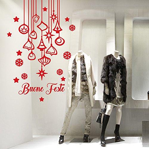 NT0337 Adesivi Murali - Pendenti natalizi - Vetrofanie natalizie - Misure 90x130 cm - rosso - Vetrine negozi per Natale, stickers, adesivi