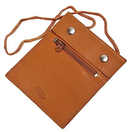 BRANCO sehr flacher Leder Brustbeutel Brusttasche Umhängebeutel Geldbeutel Security Wallet in verschiedenen Farben verfügbar GoBago (natur) -