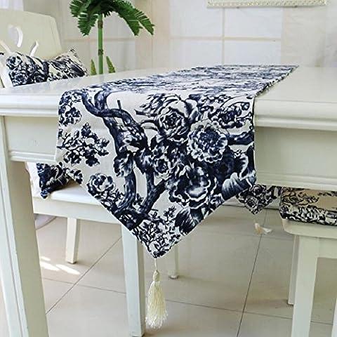 LD&P Hochwertige dicke Leinen Druck Baum Tisch Läufer Tischdecke doppelseitige zweiseitige zur Verfügung stehende Home Hotel Hochzeit Dekorationen,blue,32*180cm