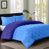 Reversible AC Single Bed Comforter/Blanket/Quilt/Duvet For Winters- Sky Blue & Navy Blue-By Cloth Fusion