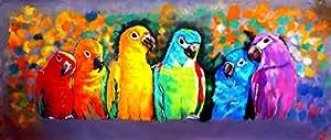 Legendarte C-54 Quadro Dipinto a Mano - Variopinti Pappagalli, Olio su tela, Multicolore, cm. 30 x 90