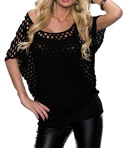Damen Sexy Tshirt Oberteil Schwarz