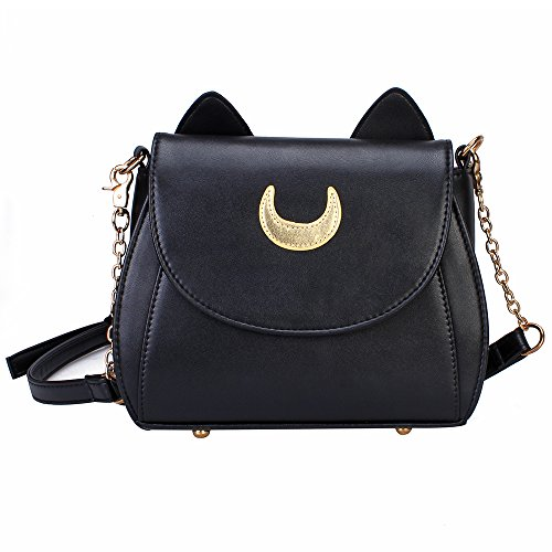 Bonamana Cosplay Sailor Moon 20. Tsukino Usagi PU-lederne Frauen Handtasche Schultertasche (Black) (Halbmond-tasche)