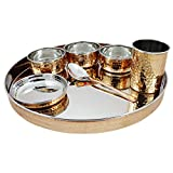 Skavij 7-Stück Edelstahl Kupfer Essgeschirr eingestellt braun Gold große Teller thali mit Tasse Schalen Löffel gehämmert Design Essgeschirrsatz Service für 1
