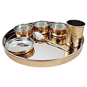 RoyaltyLane Indian Dinnerware Stainless Steel Copper Traditional Dinner Set of Thali Plate, Bowls, Glass and Spoon, Diameter 13 Inch