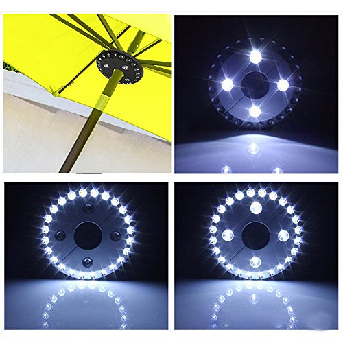 TPulling LED-Zelt Lampe  Patio Umbrella Licht Cordless 28 LED-Leuchten Outdoor Camping Regenschirm Pole Light 24 + 4 Zelt SMD LED-Zelt Lampe Regenschirm Lampe Camping Lampe (Schwarz) -