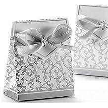 SHINA 100 piezas Cajas/ Cajitas para caramelos Cajas de regalo con cintas para fiestas bodas perfecto recuerdos (Plata)