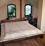 Guru-Shop Brokat- Samtdecke, Tagesdecke, Bettüberwurf - Weiß, Synthetisch, 270x230 cm, Patchwork Steppdecke aus Indien