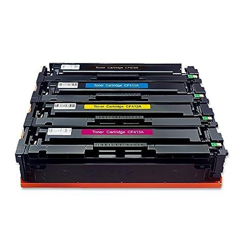 ZOOMTEC Compatible HP 410A CF410A CF411A CF412A CF413A Cartouche toner compatible pour HP Color LaserJet Pro MFP M477fdn M477fdw M477fnw M452DN M452dw M452nw M377dw - Noir, Cyan, Jaune, Magenta