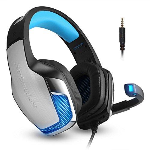 Headset Gaming Mikrofon Kopfhörer Gamer Leicht Basse Stereo Rauschen Isolating für Ps4, Xbox One, Pc, Laptop, Tablet, Telefon (inkl. Adapter) Micolindun