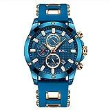 BIDEN Herren Blau Uhren Sport Militär Chronograph Wasserdicht Quarz mit Silikon Armband