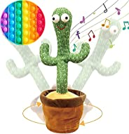 Rechargeable 130 songs Dancing Cactus Repeat What You say and Sing Electronic Plush Toy Decoration for Kids Fu