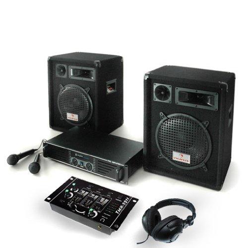 PA Anlage Bass Boomer Set Verstärker Boxen Mikrofone 800W